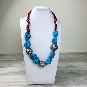 Jewelry - Turquoise & Red Adjustable Statement Necklace
